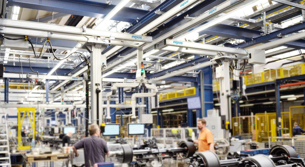 eepos one système de grue dans l'assemblage d'essieux de BPW